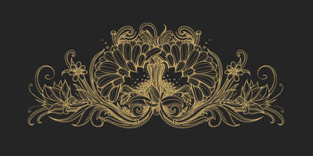 gold ornament: Floral classic frame, border. Decorative floral ornament. Gold foil flowers isolated on black Flower premium pattern background design element for VIP, premium service, premium product. Vintage vector