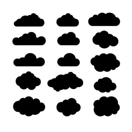 Zwarte en witte wolken icon set. Wolken icoon vormen. Wolken icon vector. Wolk iconen op een witte achtergrond. Cloud pictogrammen silhouet. Design elementen voor web, print, logo. Vector illustratie. Stock Illustratie