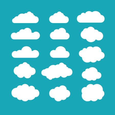 Conjunto de céu azul, nuvens. Ícone da nuvem, forma da nuvem. Conjunto de nuvens diferentes. Coleção de ícone da nuvem, forma, etiqueta, símbolo. Vetor de elemento gráfico. Elemento de desenho vetorial para logotipo, web e impressão Logos