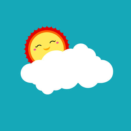 Vector forecast icon. Shining sun with smile face and white cloud shape on blue background. Cute kids design template for logo, card, banner, invitation, poster, menu. Kids art vector illustration.
