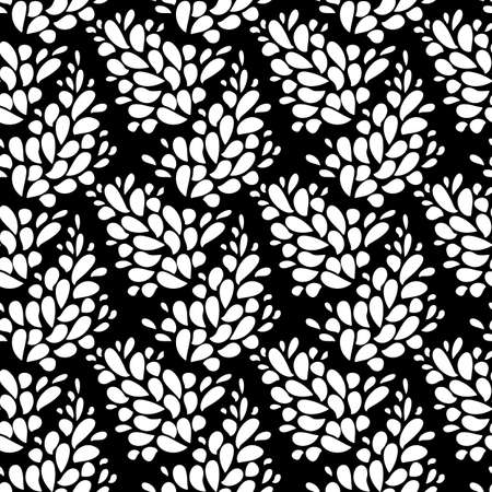 Seamless texture with leaves. Seamless floral pattern. Seamless flourishes pattern. Flourish simple print. Vector repeating texture. Seamless flower pattern. Black and white background, texture