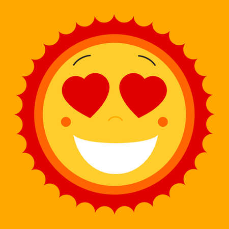Smile lovely sweet cute sun. Vector cute sun symbol. Love sun emblem. Love smile summer sun. Love icon for web design and print. Mix of happy smile face with white teeth, hearts and warm sun icon.  イラスト・ベクター素材