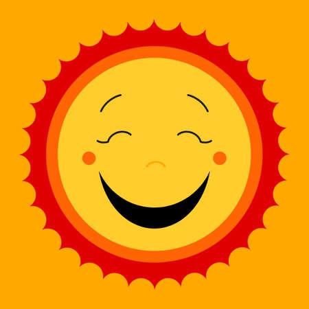 kiddish: Smile sweat cute sun. Vector cute kids sun symbol. Happy kiddish sun sign. Laughing happy smile sun icon.  Modern yellow cute kids design. Smiley cute sun icons. Happy emotion. Vector illustration