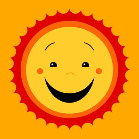 feeling good: Smile sweat cute sun. Vector cute kids sun symbol. Kiddish sun sign. Joyful sun with smiley face. Kids design. Cute childish sun icon. Emoticon icon. Feeling good image. Cute flat vector illustration. Illustration