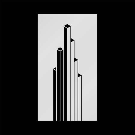 accounting logo: Abstract black and white isometric building vector, linear abstract sign for business, finance company. Downtown skyscraper 3d icon, sign, symbol, business card, banner, label, chart, graph