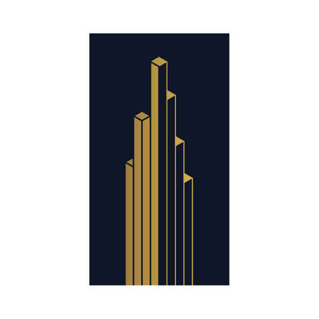 vertex: Isometric abstract vector building icon for business and financial logo, banner, business card. Trendy linear 3d sign, gold foil symbol. Blue and gold label isolated on white background. Vector design Illustration