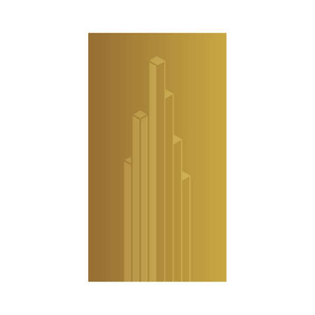 vertex: Gold vector banner. Gold label. Gold building real estate investment logo design template, gold foil sign, line 3d architect symbol, linear financial growth icon. Vector golden design element.