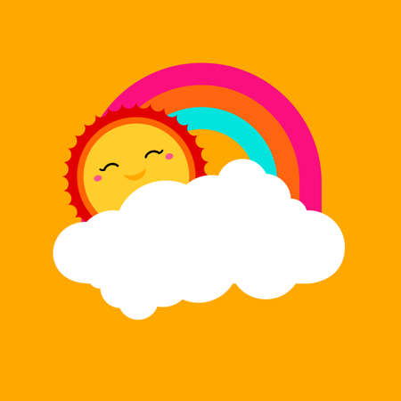sunshine: Vector summer background with rainbow sky, cloud shape, sun icon. Sunshine summer background. Bright forecasting icon. Vector art. Vector label design, tag, sticker, logo, shape. Vector illustration.