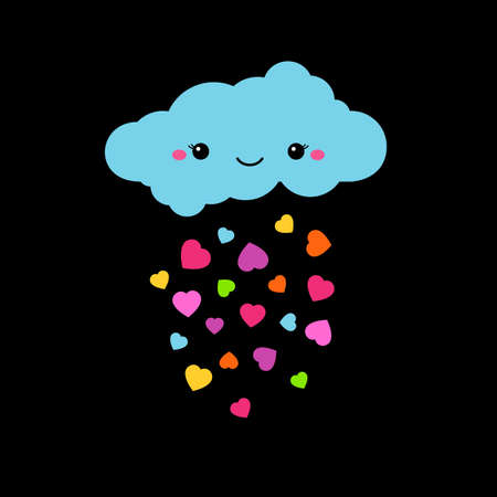 kiddish: Abstract cute cartoon vector rainy cloud. Raindrops of colorful hearts illustration. Funny kiddish decorative background. Cute cloud graphic design for baby, children. Cartoon blue cloud character