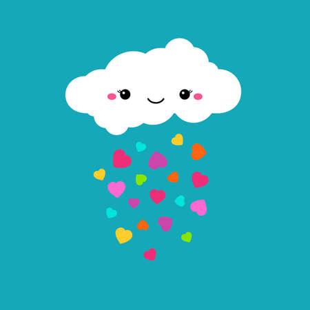 childish: Abstract cute cartoon vector rainy cloud. Raindrops of colorful hearts. Funny illustration. Kids decorative background. Cute cloud design for children. Blue sky and rainbow color hearts decoration