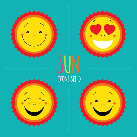 emociones: Iconos del sol. Vector de niño lindo feliz sol. Colección de símbolos del sol de la historieta. diseños de logotipos conjunto del sol. Sol feliz, cara sonriente del sol, amor iconos del sol. icono del sol plana configurado para el sitio web. símbolo del sol del vector para la impresión.