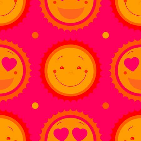 Vector modern yellow smiling from ear to ear fun happy sun sign. Smile sweat cute kids sun sun symbol for kid design, children design, kid logo, children logo, kids summer camp decoration. Clipart.