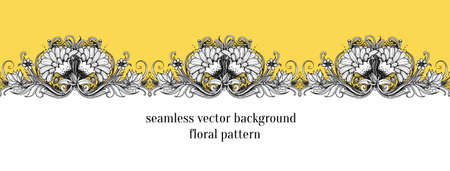 aster: Seamless floral border. Floral frame design element. Stylized vector flowers. Botanical illustration with dahlia, chrysanthemum, mums flower, lotus flower, aster, marigold and leaves. Repeating border Illustration