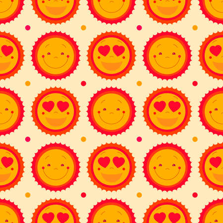 for design: Vector happy emoticons seamless pattern background with suns. Summer fun background, repeating pattern design. Cute sun icons set for baby, kids, children. Vector illustration. Vector pattern design