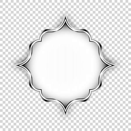 islamic: Vector silver shape, decorative art design element. Islamic ornamental floral label with lights and shadow isolated on transparent background, Old style realistic icon< graphic banner design element.