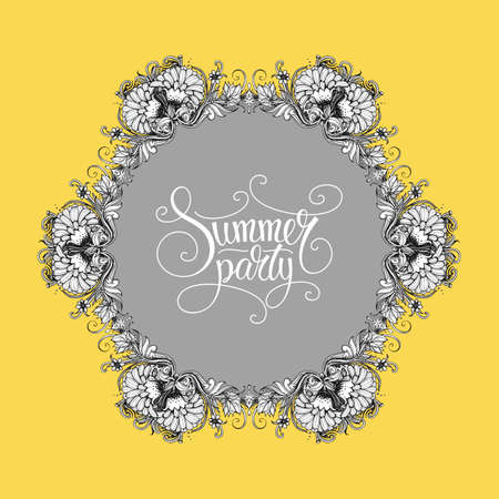 garden party: Vector summer party invitation, card design template. Vector flower ring and summer party calligraphic lettering in vintage style. Flower wreath and text. Vector background for garden party decoration Illustration