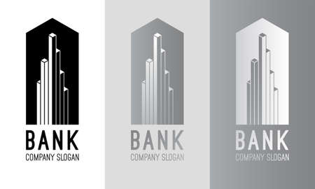 accounting logo: Vector bank logo design. Silver bank logo. Black and white bank logotype. Bank sign. Bank symbol. Bank building vector emblem. Modern emblem for your business. Line logo Abstract finance concept.