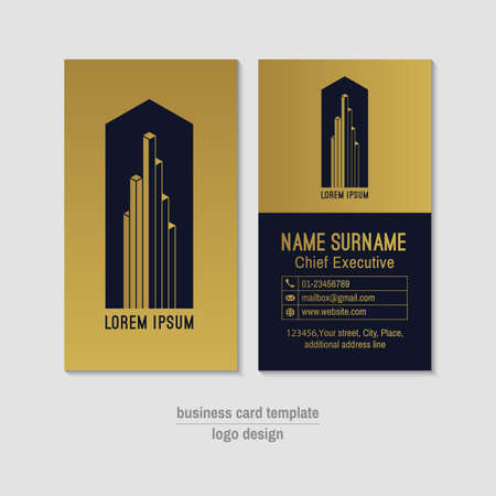 Abstract vertical vector business card template royalty free abstract vertical vector business card template gold and blue business card layout corporate business reheart Images
