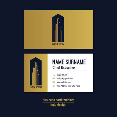 visit: Abstract horizontal vector business card template. Gold, blue, white business card layout. Corporate business card background. Modern visit card with abstract logo and icons. Vector visiting card. Illustration