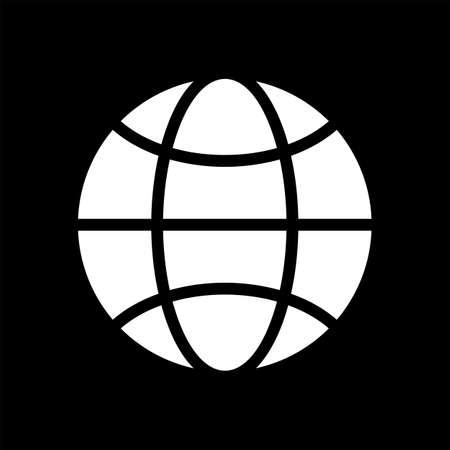 globe logo: Vector black and white globe icon. Global design concept. Globe symbol for web, print. Vector globe icon design element. Flat earth. Globe logo. Globe sign, symbol for app design. Vector illustration.