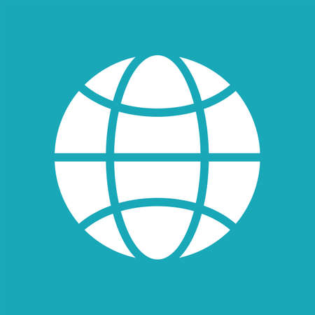 globe logo: Vector blue and white globe icon. Global design concept. Globe symbol for web, print. Vector globe icon design element. Flat earth. Globe logo. Globe sign, symbol for apps design. Vector illustration. Illustration
