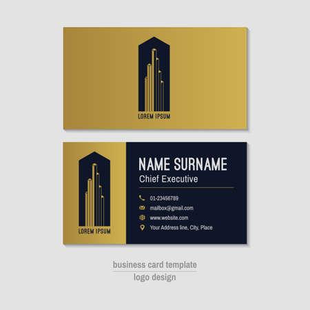 Résumé horizontal template vecteur carte de visite. Or, bleu carte de visite mise en page. Entreprise fond de carte de visite. Moderne carte de visite avec le logo abstrait et icônes. Vector carte de visite.