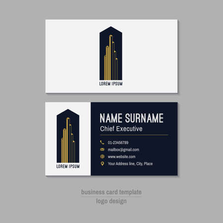 visit: Abstract vector business card template. Gold, white and blue business card design. Corporate business card background. Modern business card with abstract logo. Vector branding design element. Illustration