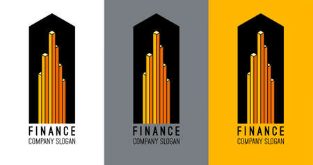 commercial real estate: Logo design for accounting company. Finance center logo. Real estate logo design. Business growth concept. Abstract commercial buildings icon. Skyscraper icon. City building vector. Vector logo icon Illustration