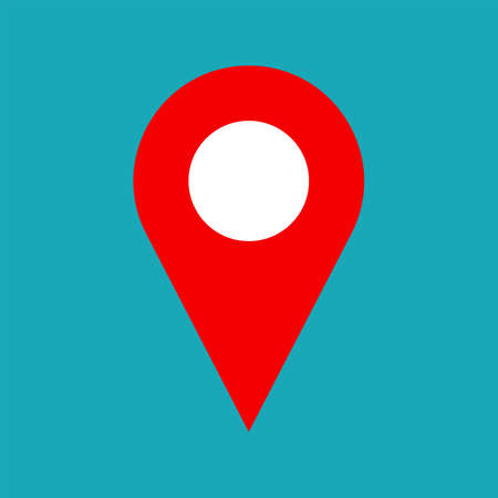 Vector map pin icon. Map pin icon symbol for address. Flat map pin icon for website, print, business card design. Simple shape. Vector pointer for gps navigation, apps. Marker for map. Vector web icon Banco de Imagens - 56418247