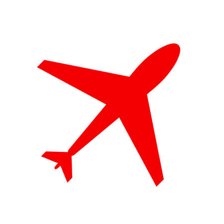 Web icon of airplane, plane. Airport icon, red airplane shape isolated on white. Flat airplane. Travel icon, shape, label, symbol. Graphic element vector. Vector design element for logo, web and print Ilustração
