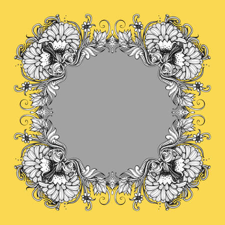 aster: Floral vector frame. Floral frame design. Wreath of flowers. Flower ring. Stylized flowers: dahlia, chrysanthemum, mums flower, aster, marigold. Drawing plants, herbs, grass, leaves. Vector frame