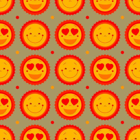 kiddish: Vector seamless vintage pattern background with suns. Retro style cute kiddish seamless background design for kids room, baby fashion (clothes). Suns abstract background for summer beach, party decor Illustration