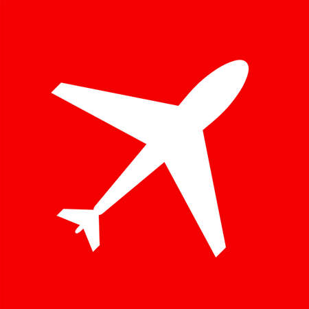 icon red: Web icon of airplane, plane. Airport icon, airplane shape. Flat airplane. White airplane icon, shape, label, symbol. Graphic element vector. Vector design element for logo, web and print.