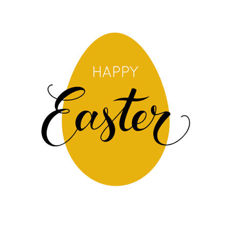 Happy easter egg background. Golden shape and lettering. Vector illustration.