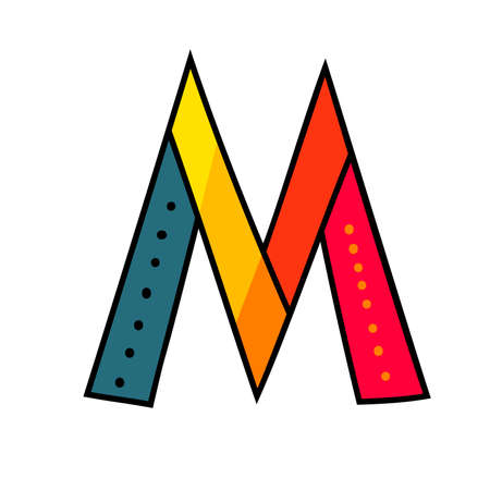 Letter M from english alphabet. Colorful logo template in modern geometric flat style and vector illustration, creative funny label design isolated on white background. Bright symbol clipart image.