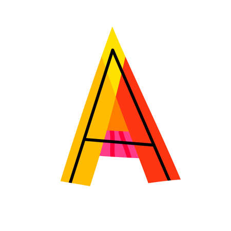 Letter A from english alphabet. Colorful logo template in modern geometric flat style and vector illustration, creative funny label design isolated on white background. Bright symbol clipart image. Ilustração