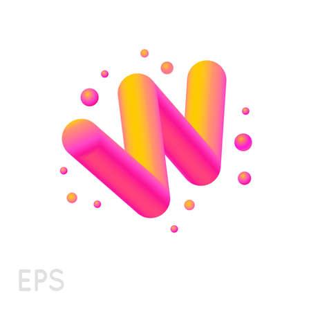Vibrierender abstrakter Vektorbuchstabe W lokalisiert auf weißem Hintergrund. Logo Vorlage, Illustration. Farbverlaufsbild. EPS 10.