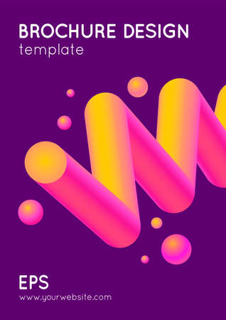 Abstract vector modern brochure design in trendy style with geometric shapes. Vibrant gradient colors graphic.