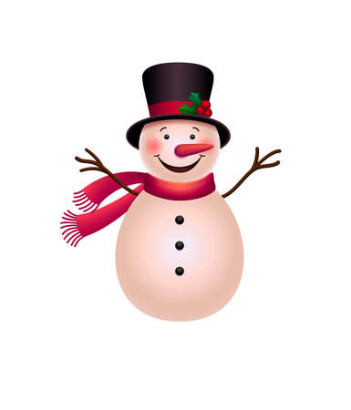 Snowman vector illustration. Cute cartoon christmas snowman isolated on white background. Merry christmas and happy new year design element from my holiday collection. Winter. EPS 10
