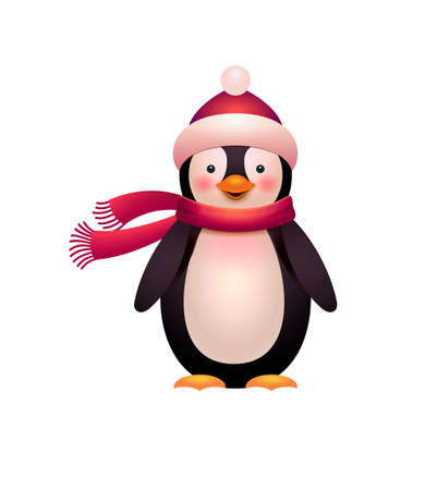 Cute penguin vector, cartoon style illustration. Funny penguin isolated on white. Merry Christmas and Happy New Year design element. Vector illustration. 矢量图像