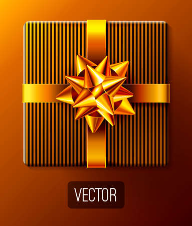 Wrapped gift box with ribbon and gold decorative gift bow. Golden wrapping present and decoration for holidays designs. Stripes pattern. Top view object. Realistic 3d vector illustration. EPS 10