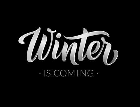 Winter is coming abstract vector banner design template. Modern black and white 3d calligraphic winter text and lettering for logo, poster, invitation, card, wallpaper. Vector illustration. EPS10.