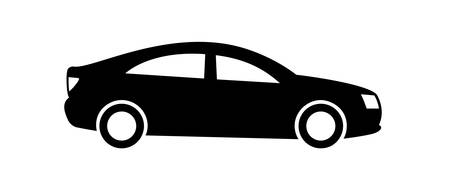 Car icon Isolated on white background. Side view. Vector design element, pictogram, and illustration. Black car silhouette.