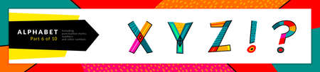 Font and alphabet. Vector stylized colorful x, y, z letters, and punctuation marks set. Typography design and illustration. Funky Font and fun typeset.