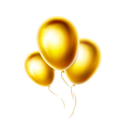 Gold balloons bunch and group isolated on white background. Realistic glossy and shiny helium ballon for birthday, party, wedding decoration. Golden color vector objects illustration. EPS10 写真素材