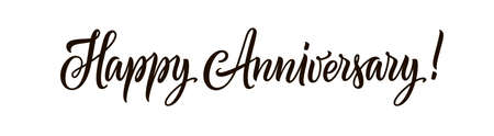 Happy anniversary text isolated on white background. Hand drawn black color lettering for horizontal greeting banner, card, invitation and poster. Calligraphy illustration and quote. Typography