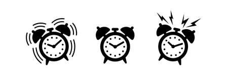 Set of alarm clocks. Wake up illustration. Time. Black and white vector icon, shape, label, symbol or pictogram. Set of ringing and vintage alarm clock. Vector design element for logo, web and print Ilustração