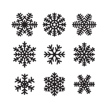 Set of snow flakes icons. Winter or frozen symbol. Christmas or New year decoration. Black and white vector snowflakes shape, label or pictogram. Isolated vector design element for logo, web, print