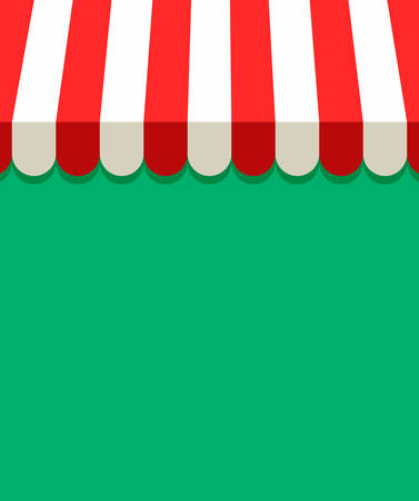 Awning and canopy vector background. Red and white striped awning for store, cafe, shop, market or restaurants. Isolated. Flat illustration for web and print with copy space
