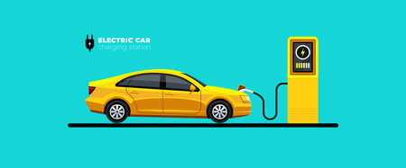 Electric car charging at the charger station or point vector illustration. E-vehicle and electromobility design concept. Eco friendly car. Ilustração
